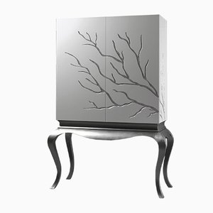 White Wardrobe with Led Light Interior and Branch Decor by Maria J Guinot for CA Spanish Handicraft