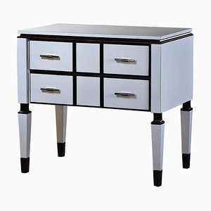 White Bedside Table with 2 Drawers and Dark Details by Jacobo Ventura for CA Spanish Handicraft
