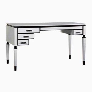 Weißer asymmetrischer Schreibtisch mit 4 Schubladen & dunklen Akzenten von Jacobo Ventura für CA Spanish Handicraft