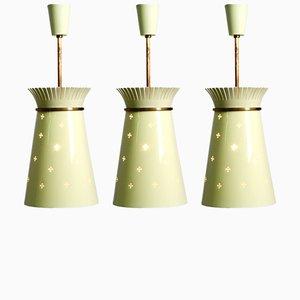 Lámparas colgantes de metal perforado de Arredoluce, años 50. Juego de 3