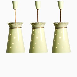 Perforated Metal Pendant Lamps from Arredoluce, 1950s, Set of 3