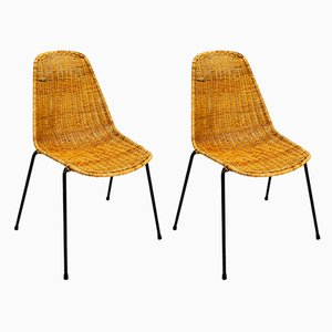 Basket Esszimmerstühle von Gian Franco Legler, 1960er, 2er Set