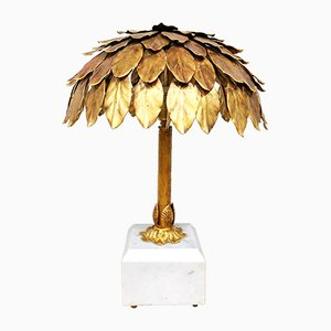 Mid-Century Gilded Palm Tree Table Lamp, 1950s