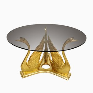 Vintage Brass Swan Coffee Table, 1970s