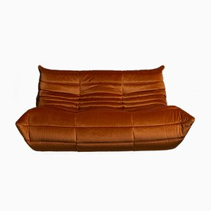 Togo Orange Velvet Sofa by Michel Ducaroy for Ligne Roset, 1970s