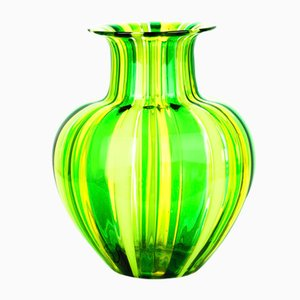 Green & Yellow Blown Murano Glass Vase by Urban for Made Murano Glass, 2019
