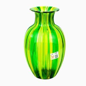 Jarrón de cristal de Murano soplado en verde y amarillo de Urban para Made Murano Glass, 2019