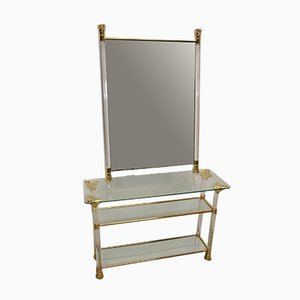 French Golden Plexiglass Side Table and Mirror Set, 1960s