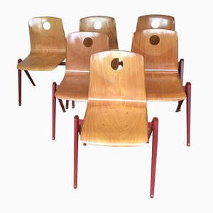 Vintage Industrial Dining Chairs from Woodmark, 1960s, Set of 6