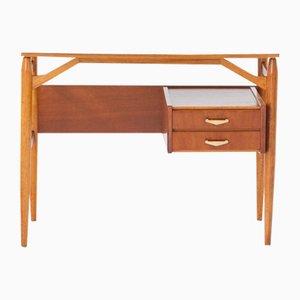 Italienischer Schreibtisch aus Teak, Resopal & Messing, 1950er