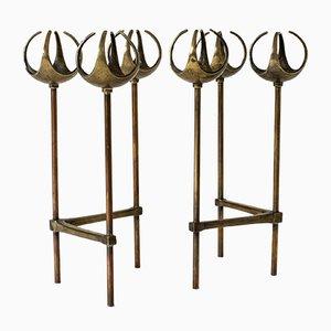 Bougeoirs en Bronze par Olof Barve, 1960s, Set de 2