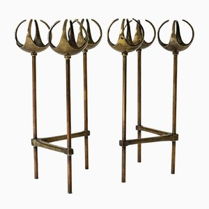 Bronze Candle Holders by Olof Barve, 1960s, Set of 2