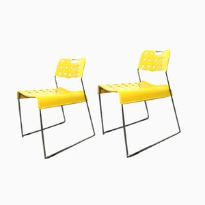 Yellow Omstak Dining Chairs by Rodney Kinsman for Bieffeplast, 1971, Set of 2