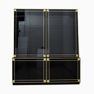 Hollywood Regency Style Lacquered Black Sideboard by Pierre Cardin, 1980s