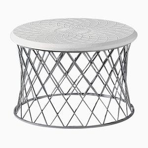 Table d'Appoint en Fer et Cuir par Jacobo Ventura pour CA Spanish Handicraft