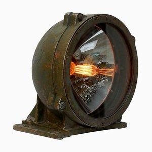 Industrielle Vintage Tischlampe aus gegossenem Aluminium & Klarglas, 1950er
