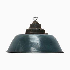 Blau emaillierte industrielle Vintage Fabriklampe, 1950er