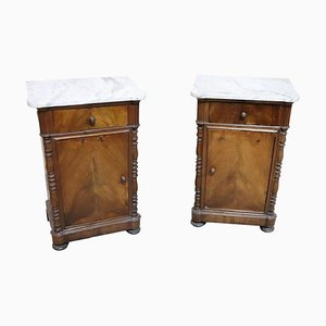 Antique Walnut and Marble Nightstands, 1850s, Set of 2