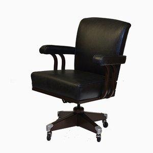 Chaise de Bureau Industrielle en Métal et Cuir d'Hillcrest, 1950s