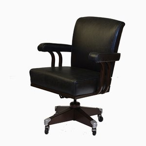 Industrial Metal and Leather Desk Chair from Hillcrest, 1950s