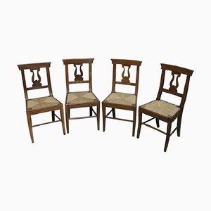 Antike Esszimmerstühle aus Nussholz, 1800er, 4er Set