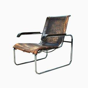 Vintage Modell B35 Sessel mit Stahlgestell & Lederbespannung von Marcel Breuer für Thonet