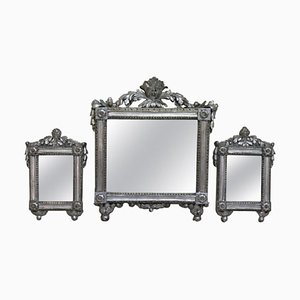 Louis XVI Silver-Plated Wall Mirrors, 1770s, Set of 3