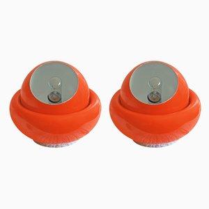 Orangefarbene italienische Space Age Tischlampen, 1960er, 2er Set