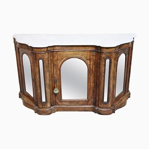 Antique Inlaid Walnut and Marble Sideboard