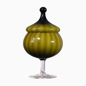 Grüne Glasschale von Empoli, 1960er
