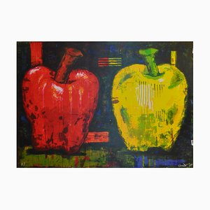 Large American Silkscreen Apples Print by Aaron Fink for Jørgen Hansen, 1984