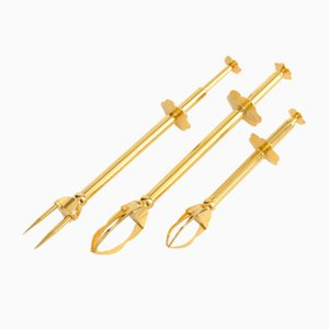 French Gilded Mechanical Tongs from Le Crabe, 1950s, Set of 3