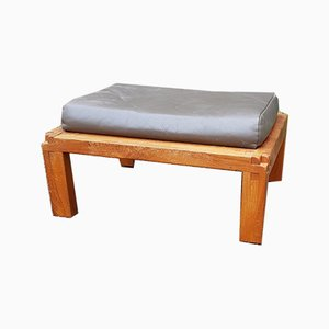 Elm and Leather Ottoman by Pierre Chapo, 1970s