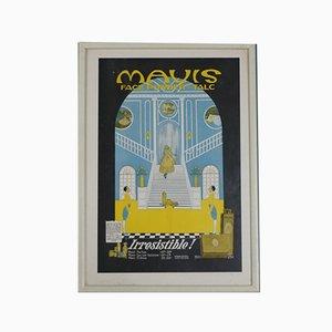Antikes Face Powder Werbeposter von Mavis