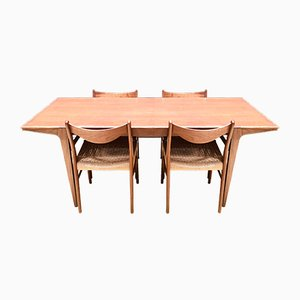 Mid-Century Teak and Paperchord Dining Set by Arne Wahl Iversen