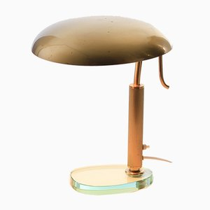 Brass and Glass Table Lamp, 1950s