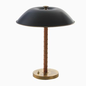Mid-Century Brass and Leather Table Lamp by Harald Notini for Böhlmarks, 1950s