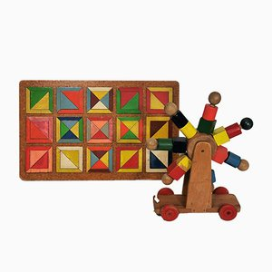 Mid-Century Modern Dutch Wooden Toys from Den-Haag, 1950s, Set of 2