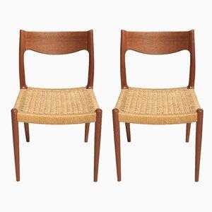 Esszimmerstühle mit Sitz aus Papierkordelgeflecht, 1960er, 2er Set