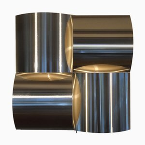 Large Brushed Steel Sconce, 1970s