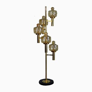 Lámpara de pie italiana de latón y cristal de Murano de Stilnovo, años 50