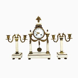 Antique Napoleon III Gilt Bronze and White Marble Clock and Candleholders, Set of 3
