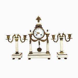 Horloge et Bougeoirs Napoléon III Antiques en Bronze Doré et Marbre Blanc, Set de 3