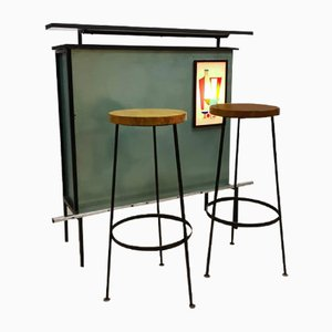 Cocktail Bar with Barstools, 1970s, Set of 3