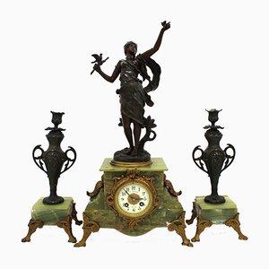 Orologio Napoleone III antico con portacandele, set di 3
