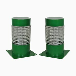Grüne französische Vintage Tischlampen aus Metall von Lita, 1960er, 2er Set