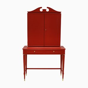 Red Lacquered Rosewood Cabinet by Paolo Buffa, 1950s