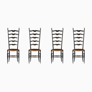 Vintage Chiavari Dining Chairs by Gio Ponti, 1950s, Set of 4