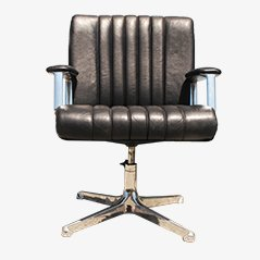 Black Leather Swivel Executive Chair by Osvaldo Borsani for Tecno, 1968