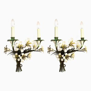 Vintage Italian Floral Sconces, 1950s, Set of 2